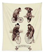 Bears On Bicycles Tapestry by Eric Fan