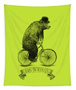 Bears On Bicycles - Lime Tapestry
