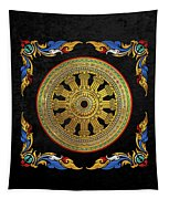 Ancient 12-spoked Gold Dharmachakra - The Wheel Of Dharma Tapestry