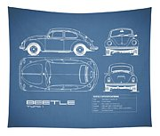 The Classic Beetle Blueprint Tapestry
