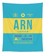 Retro Airline Luggage Tag 2.0 - Arn Stockholm Sweden Tapestry