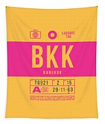 Retro Airline Luggage Tag 2.0 - Bkk Bangkok Thailand Tapestry