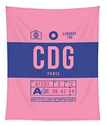 Retro Airline Luggage Tag 2.0 - Cdg Paris Charles De Gaulle France Tapestry