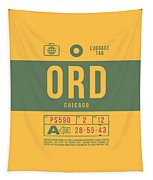 Retro Airline Luggage Tag 2.0 - Ord Chicago O'hare Airport United States Tapestry