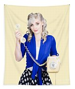 Attractive Blond Female Secretary On Vintage Phone Tapestry