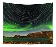 Aurora Borealis With Startrails Tapestry