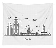 Austin Cityscape Travel Poster Tapestry