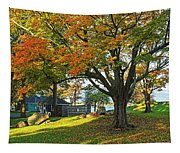 Autumn Day In The Salem Willows Salem Ma Red Tapestry