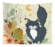 Autumn Garden Moonlit Kitty Cat Tapestry