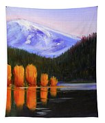 Autumn Lake Reflection Tapestry