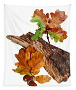 Autumn Oak Leaves And Acorns On White Tapestry