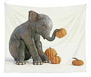 Baby Elephant And Pumpkins Tapestry