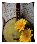 Banjo And Two Sunflowers Tapestry