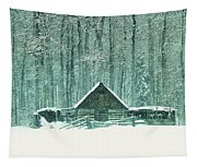 Barn In Snowfall Tapestry