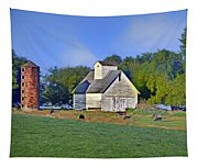 Barn - Silo - Cows Tapestry
