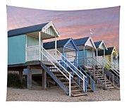 Beach Huts Sunset Tapestry