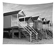Beach Huts Sunset In Black And White Tapestry