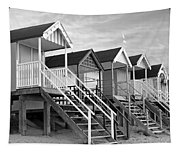 Beach Huts Sunset In Black And White Square Tapestry