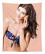 Beautiful Beach Babe Over Studio Background Tapestry