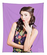 Beautiful Girl With Red Lips Expressing Surprise Tapestry