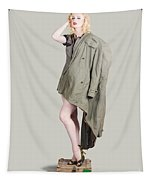 Beautiful Military Pinup Girl. Classic Beauty Tapestry