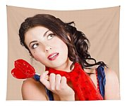 Beautiful Pinup Girl Holding Candy. Sweet Heart Tapestry