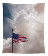 Beautifully Waves - U S Flag And Clouds Tapestry