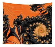 Black And Orange  Swirls Tapestry