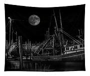 Black And White Art Fishing Boat And Full Moon Tapestry