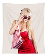 Blond Woman Shopping Tapestry