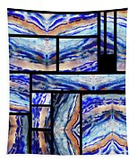 Blue Agate Mosaic Watercolor Collage Tapestry