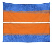 Blue And Orange Abstract Theme Iv Tapestry