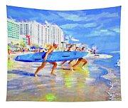 Blue Board Fast Into Ocean Tapestry