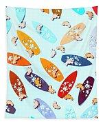 Blue Boarding Beach Tapestry