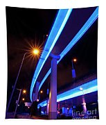 Blue Road At Night Tapestry