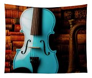 Blue Violin And Old Books Tapestry