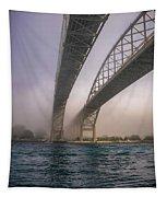 Blue Water Bridge Fog Tapestry