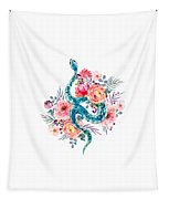 Blue Watercolor Snake In The Flower Garden Tapestry