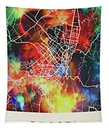 Bogota Colombia Watercolor City Street Map Tapestry