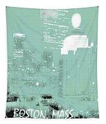 Boston Massachusetts Night Scene Digital Art Tapestry