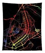 Brasilia Brazil City Street Map Watercolor Dark Mode Tapestry