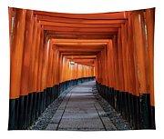 Bright Orange Torii Gates In Kyoto, Japan Tapestry