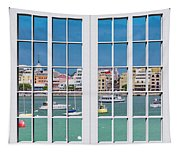 Brilliant Bermuda Cityscape Windows Tapestry