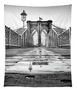 Brooklyn Bridge Nyc  Bw Tapestry by Susan Candelario