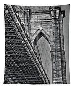 Brooklyn Bridge Over And Under Bw Tapestry by Susan Candelario