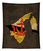 Brunei Country Flag Map Tapestry