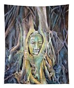 Buddha Head In Tree Roots Tapestry