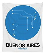 Buenos Aires Blue Subway Map Tapestry