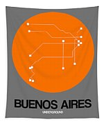 Buenos Aires Orange Subway Map Tapestry