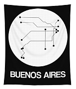 Buenos Aires White Subway Map Tapestry